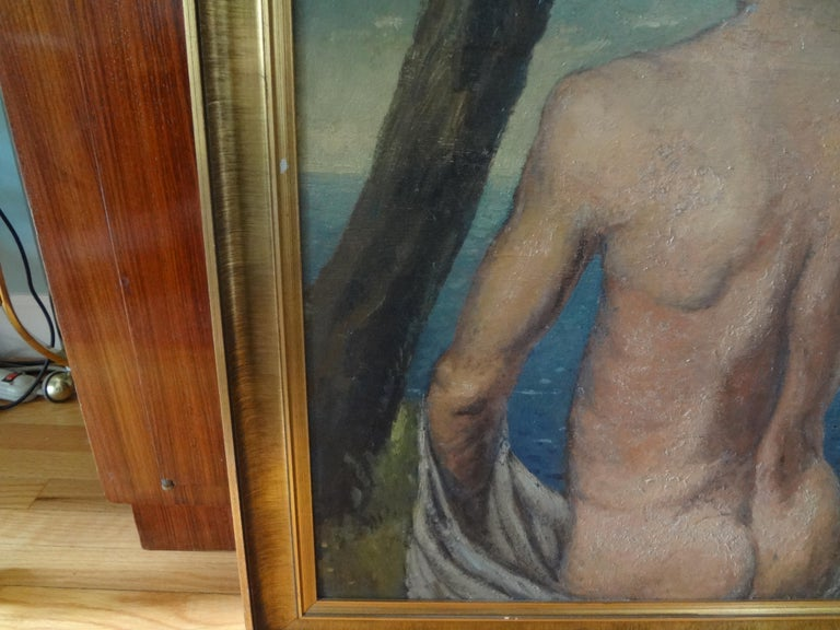 Italian Male Nude Oil Painting on Wood Panel, circa 1930 For Sale 1