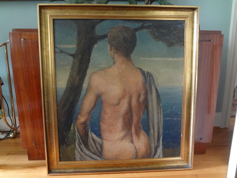 Italian Male Nude Oil Painting on Wood Panel, circa 1930 For Sale 2