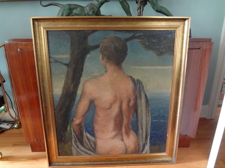 Italian Male Nude Oil Painting on Wood Panel, circa 1930 For Sale 3