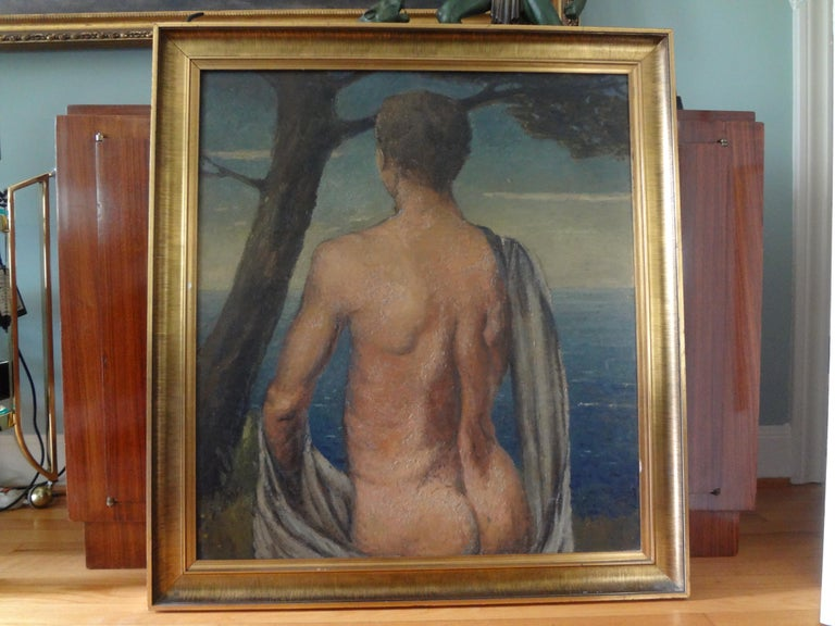 Italian Male Nude Oil Painting on Wood Panel, circa 1930 For Sale 4