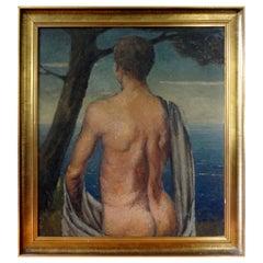 Italian Male Nude Oil Painting on Wood Panel, circa 1930