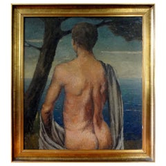 Italian Male Nude Oil Painting on Wood Panel, circa 1930