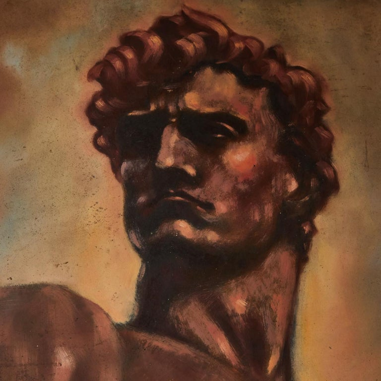 Italian male nude painting by artist Falfavino who was inspired by Mussolini's face and the body of Donatello's David. Painting measures 34