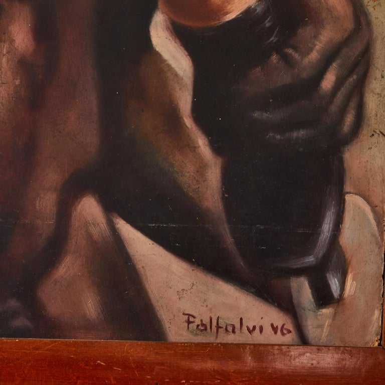 Italian Male Nude Painting by Artist Falfavino In Good Condition For Sale In Los Angeles, CA