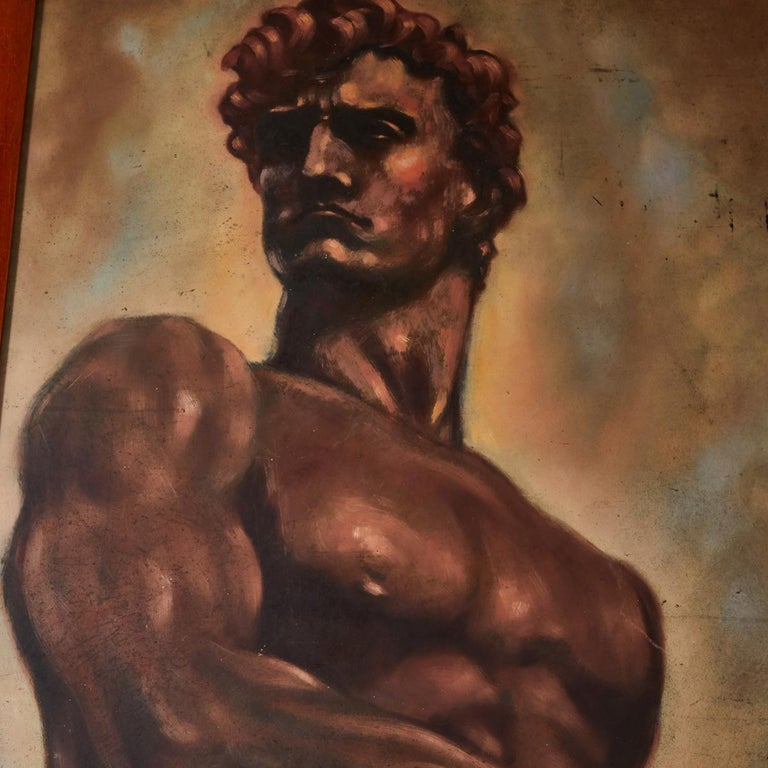 Mid-20th Century Italian Male Nude Painting by Artist Falfavino For Sale