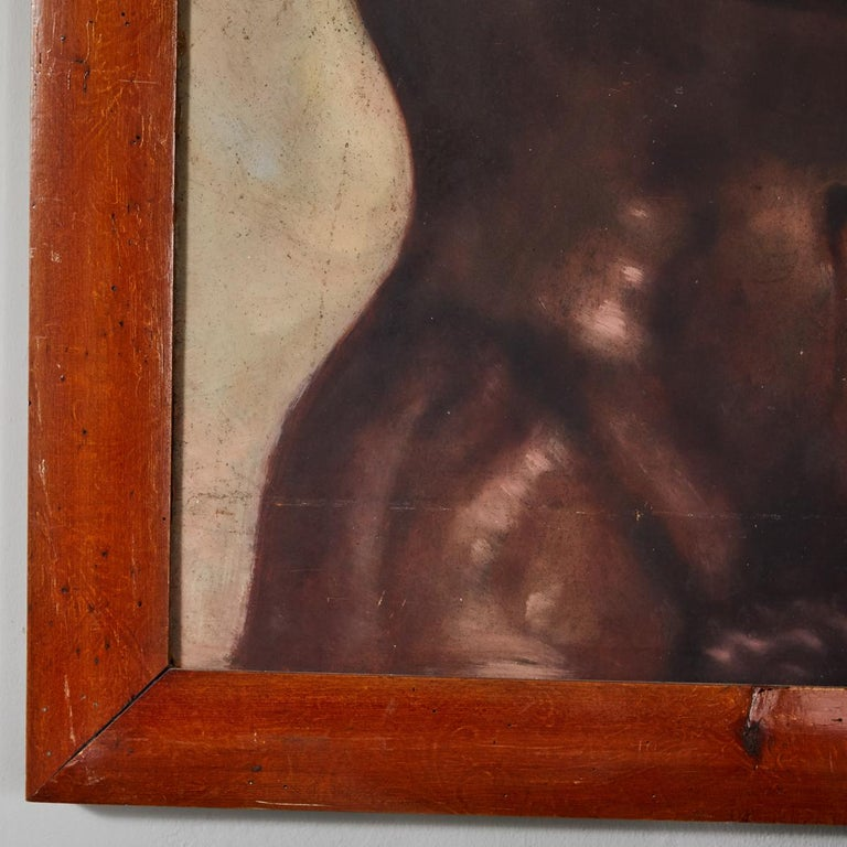 Wood Italian Male Nude Painting by Artist Falfavino For Sale