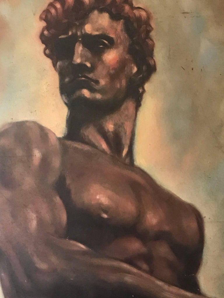 Italian Male Nude Painting by Artist Falfavino For Sale 1