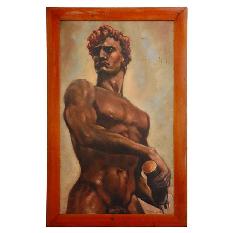 Italian Male Nude Painting by Artist Falfavino For Sale
