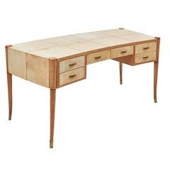 Italian Maple and Vellum Desk, Style of Osvaldo Borsani, circa 1940
