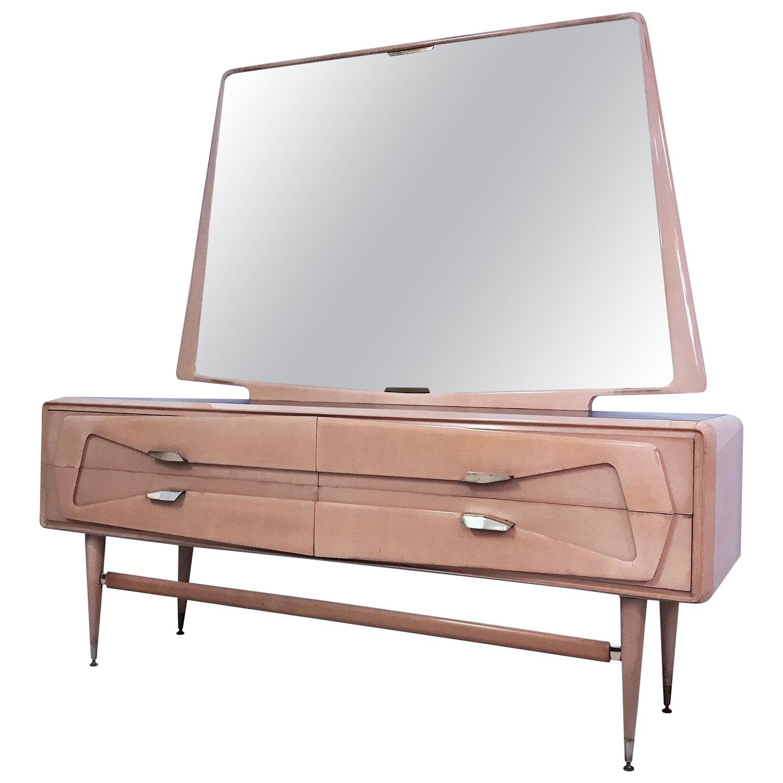 Italian Mid-Century Maple Dresser with Mirror attr. to Silvio Cavatorta, 1950s