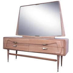 Italian Maple Dresser with Mirror attributed to Silvio Cavatorta, 1950s