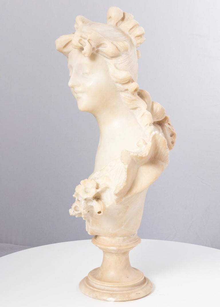 Art Nouveau Italian Marble Alabaster Carved Busts For Sale