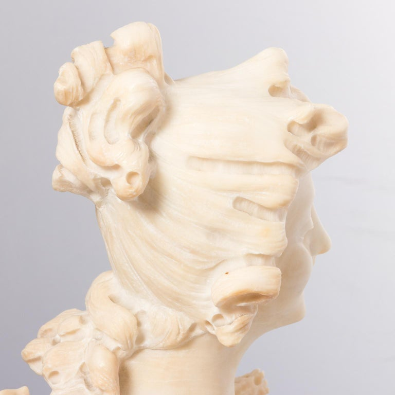 Italian Marble Alabaster Carved Busts For Sale 1