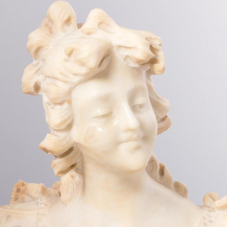 Italian Marble Alabaster Carved Busts For Sale 3