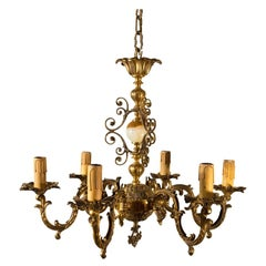 Italian Marble and Brass Baroque Six Light Chandelier