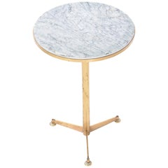 Italian Marble and Brass Drink Table