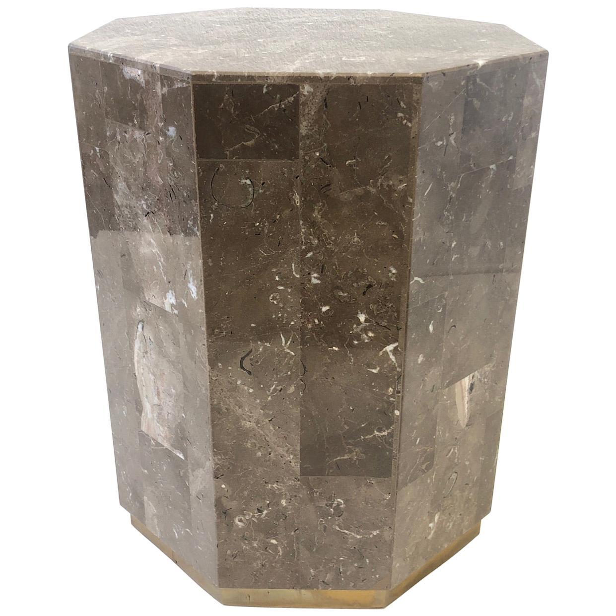 Italian Marble and Brass Octagonal Shape Pedestal