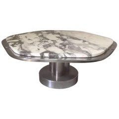 Italian Marble and Chromed Design Coffee Table, 1970s