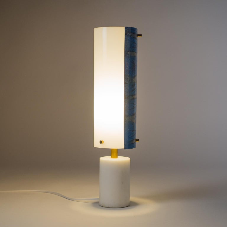 Italian Marble and Enameled Copper Table Lamp, 1950s For Sale 4