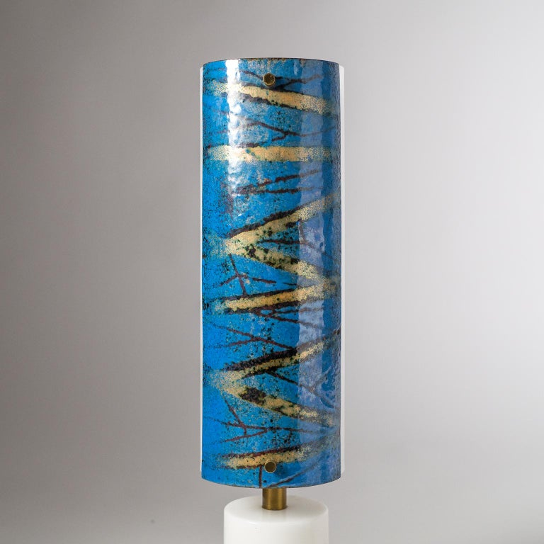 Italian Marble and Enameled Copper Table Lamp, 1950s For Sale 1