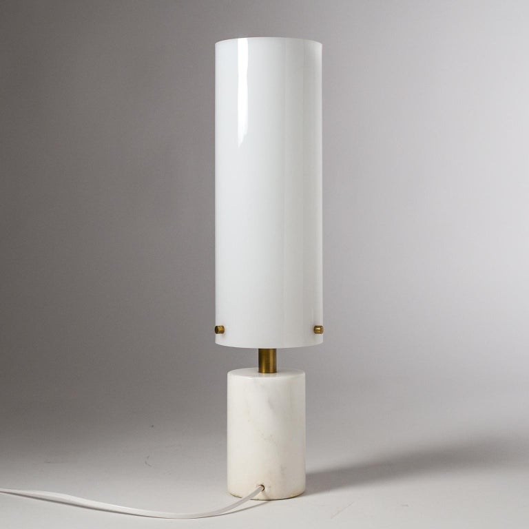 Italian Marble and Enameled Copper Table Lamp, 1950s For Sale 3
