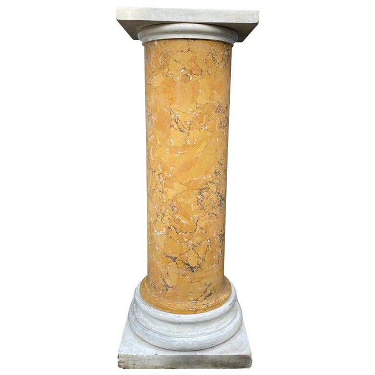 Italian Marble and Siena Scagliola Pedestal For Sale