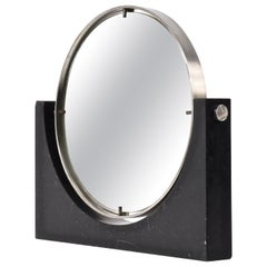 Italian Marble and Steel Vanity Table Mirror Round, Italy, 1960s by Mangiarotti
