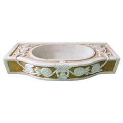 Italian Marble Antique Style Inlaid Sink