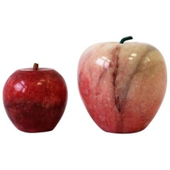 Italian Modern Marble Apple Fruit Sculptures