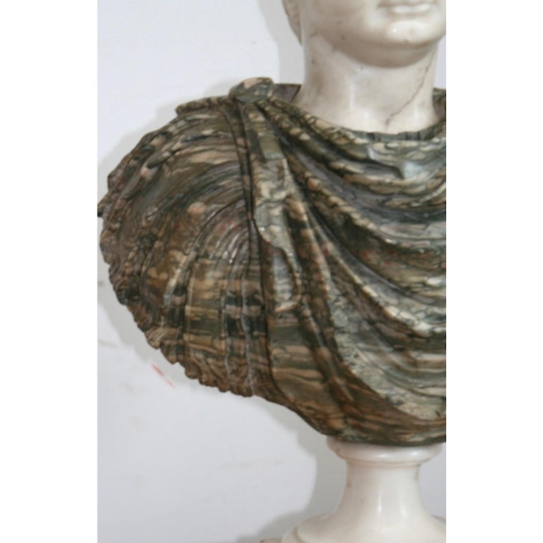 Classical Roman Italian Marble Bust of a Roman Emperor, 18th Century For Sale