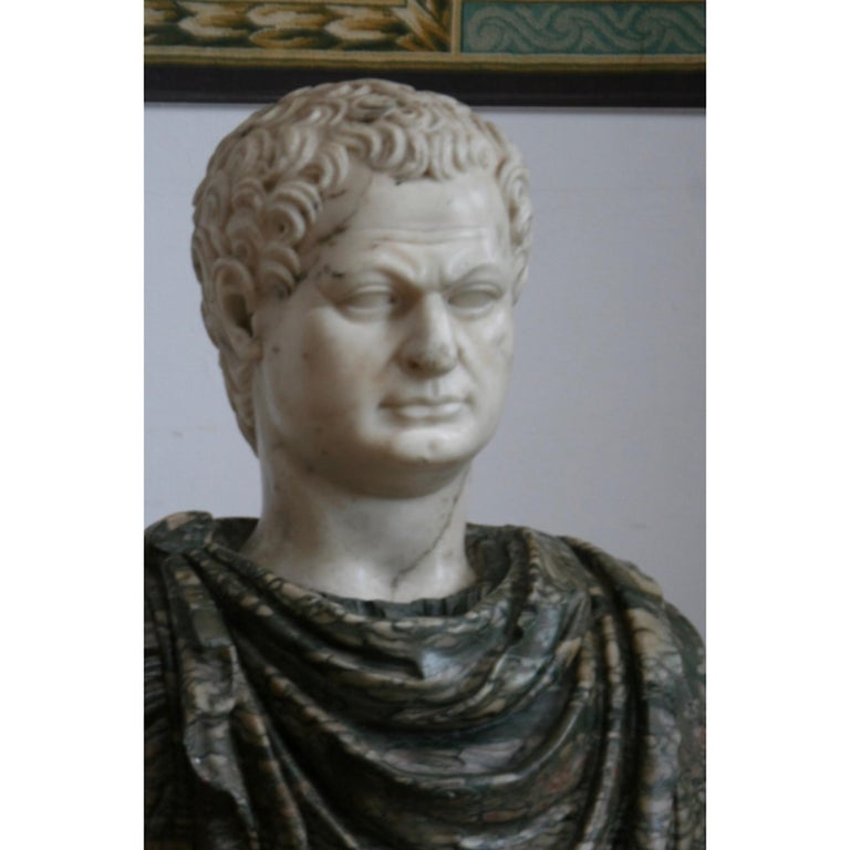 Hand-Crafted Italian Marble Bust of a Roman Emperor, 18th Century For Sale