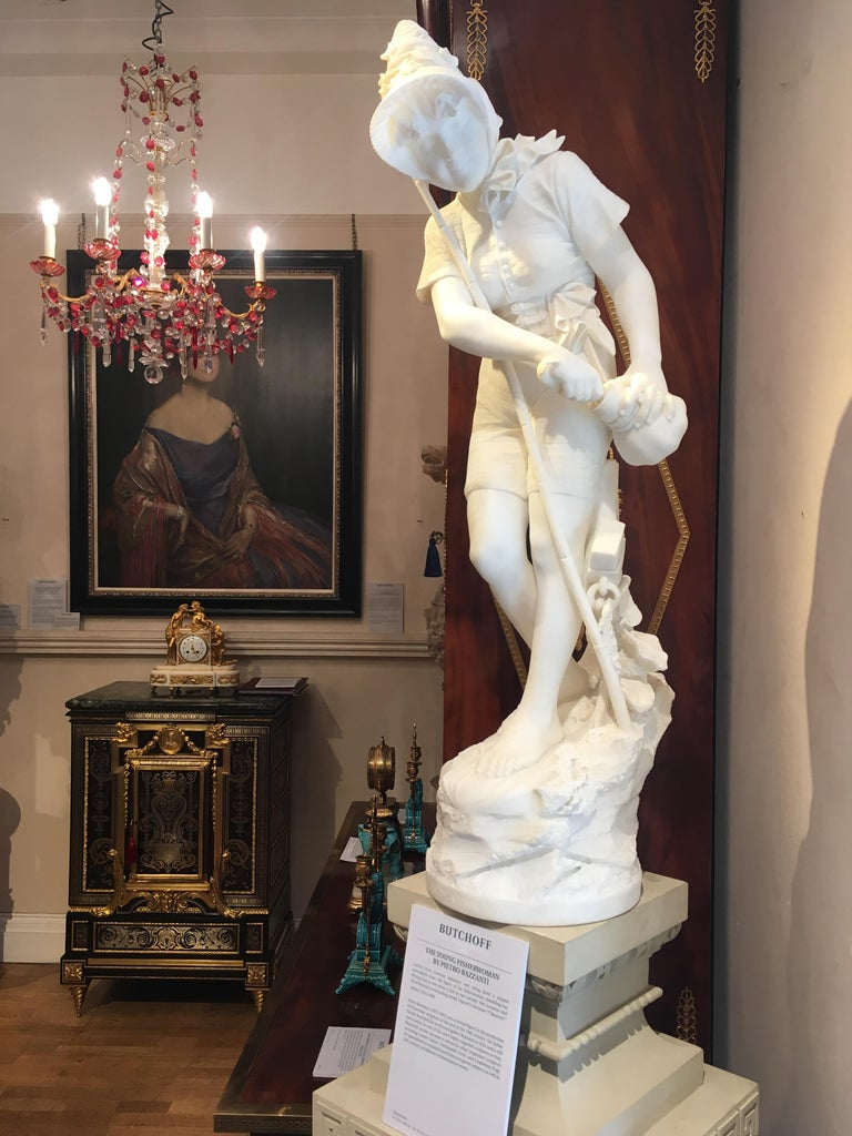 Italian Marble Bust of a Young Fisherwoman by Pietro Bazzanti In Excellent Condition For Sale In London, GB