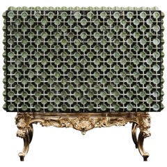Italian Marble Cabinet in Nero Portoro Marble & Verde Ming with Brass Details