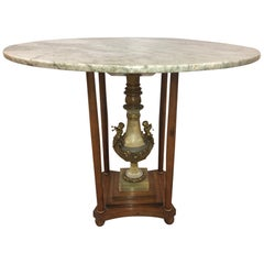 Italian Marble Center Table with Onyx Pedestal and Bronze Cherubs
