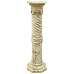 Italian Marble Classical Spiral Carved Greek Key Column Pedestal Plant Stand