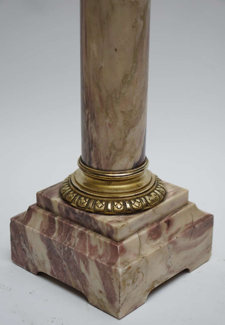 Gilt Italian Marble Column Pedestal with Corinthian Capital For Sale