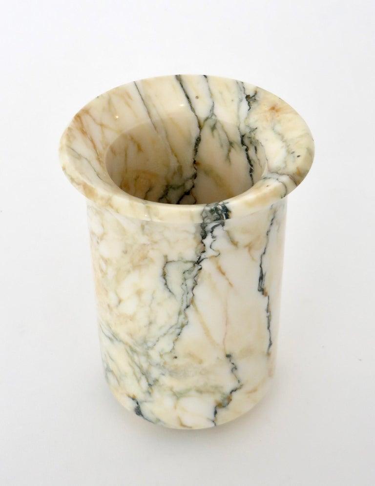 Italian Marble Cream Gold Blue Black Green Veined Vase For Sale 6