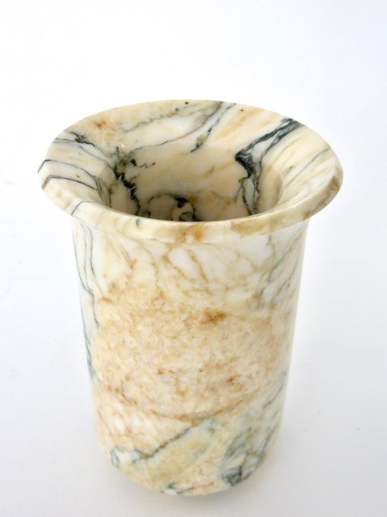 Italian Marble Cream Gold Blue Black Green Veined Vase For Sale 9
