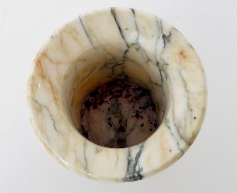 Italian Marble Cream Gold Blue Black Green Veined Vase For Sale 12