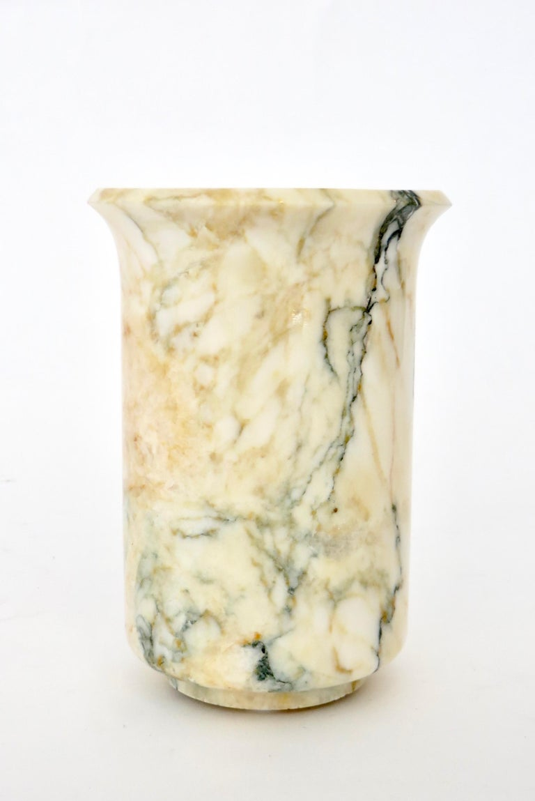 Italian Marble Cream Gold Blue Black Green Veined Vase In Excellent Condition For Sale In Chicago, IL