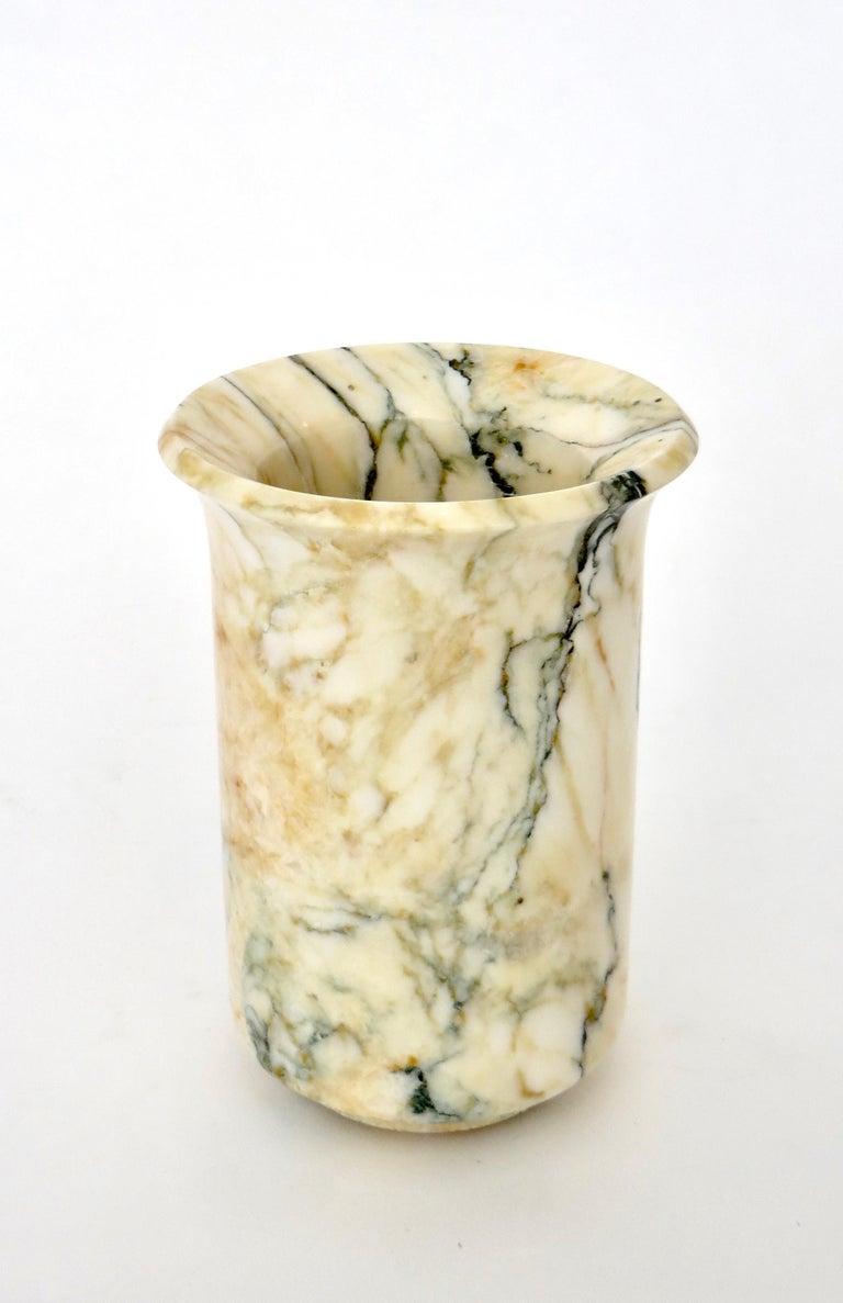 Mid-20th Century Italian Marble Cream Gold Blue Black Green Veined Vase For Sale
