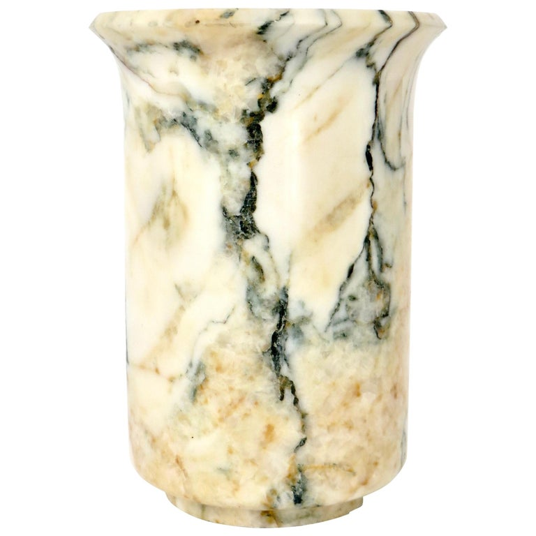 Italian Marble Cream Gold Blue Black Green Veined Vase For Sale
