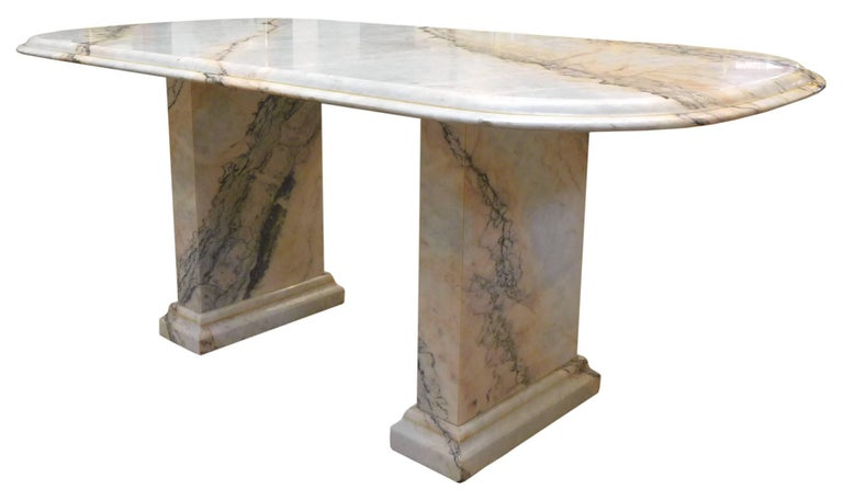 Machine-Made Italian Marble Dining Table For Sale