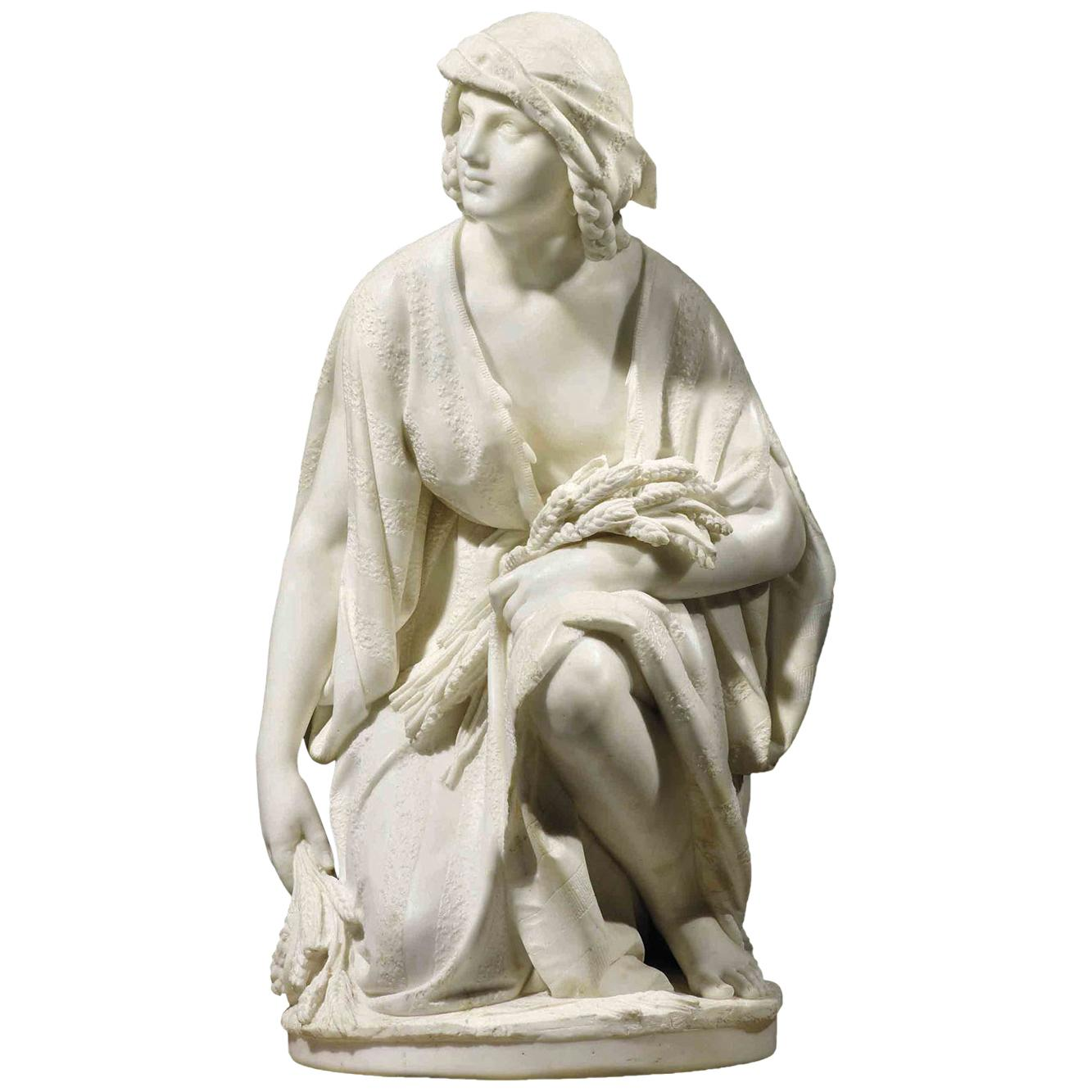 Italian Marble Figure of Ruth Gleaning by Pasquale Romanelli, Florence