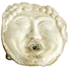 Italian Marble Fountain Mask, circa 1840