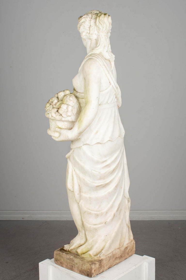 Neoclassical Italian Marble Garden Statue For Sale