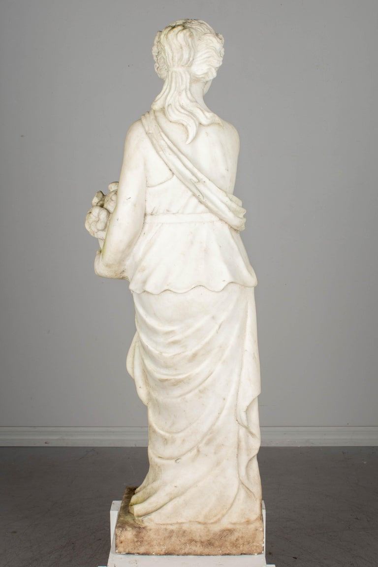 Hand-Carved Italian Marble Garden Statue For Sale
