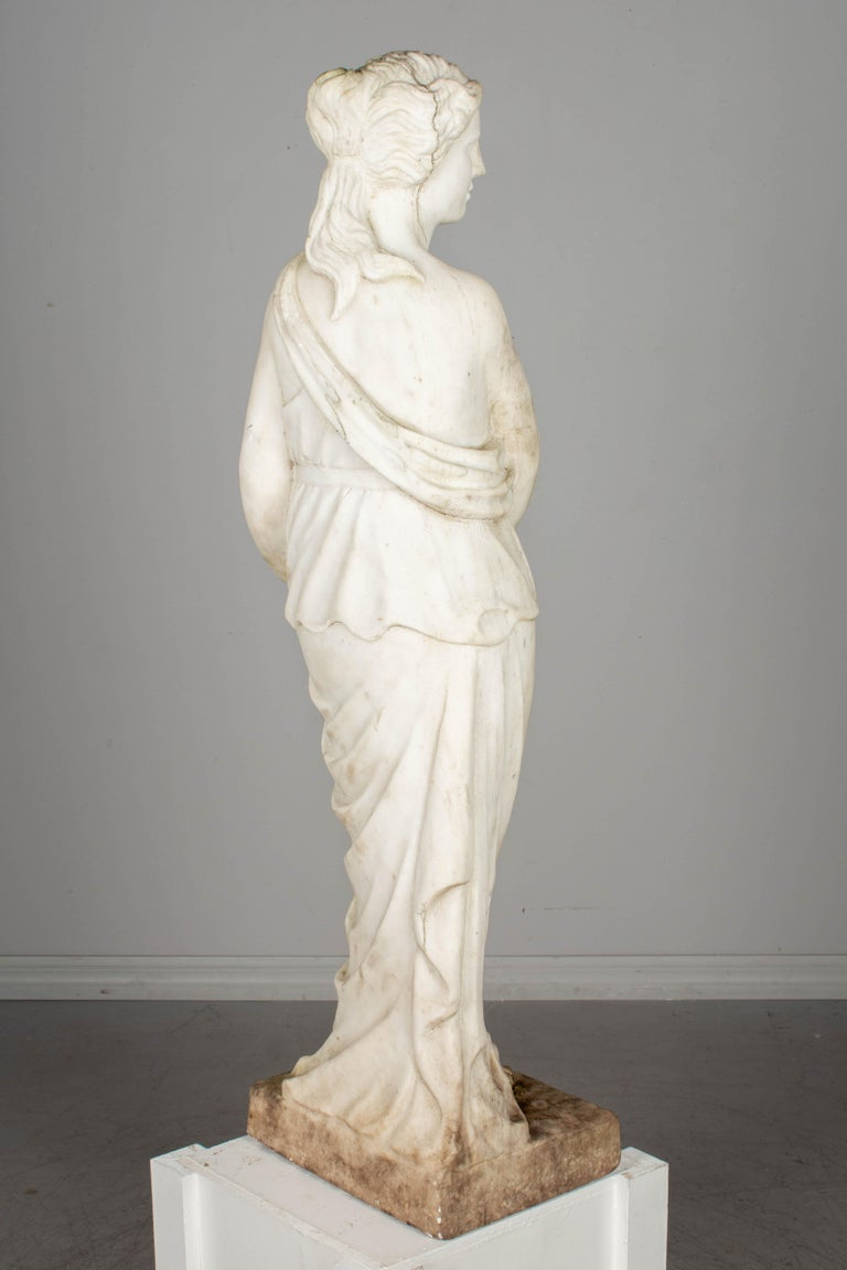 Italian Marble Garden Statue In Good Condition For Sale In Winter Park, FL