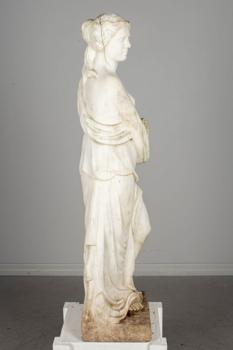 20th Century Italian Marble Garden Statue For Sale