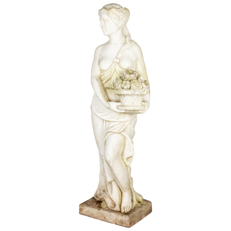 Italian Marble Garden Statue For Sale